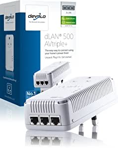 Devolo dLAN 500 AV Triple+ Add-On Powerline Adapter (3 GB LAN Ports, Pass Through, 500 Mbps)