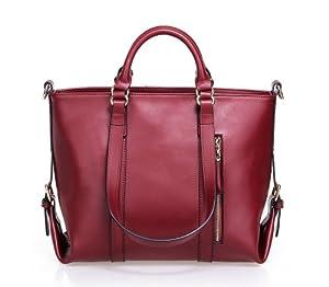 Fineplus Large Women's Genuine Leather Multifunctional Shoulder Strap Tote Bags Handbag