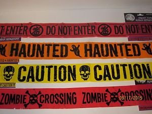 [Caution Zombie Crossing Tape Keep Out Haunted House Set of 4 Halloween Spider Web Spiders Creepy Scary Harvest Decor Decoration Decorations Tray] (Homemade Ty Beanie Baby Costumes)