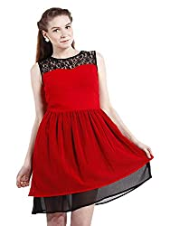 Peptrends Women's Skater Dress (DR1501063RD, Red, Small)