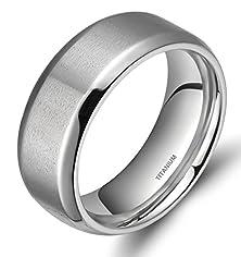 buy 8Mm Men'S Titanium Ring Wedding Band With Flat Brushed Top And Polished Finish Edges(6.5)