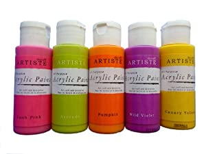 Acrylic Craft Paint Set - Pink Yellow Lime Purple Orange - Pack of 5 x 59ml