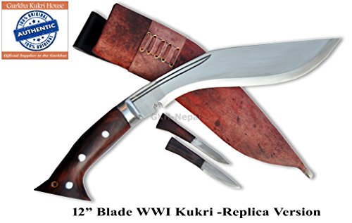 "Authentic Gurkha Kukri Knife - 12"" Blade WWI Historical Kukri with Brown/Red Leather sheath-Handmade by Gurkha Kukri House in Nepal-"