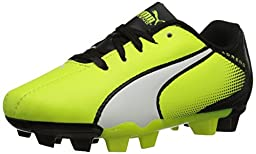 PUMA Adreno Firm Ground JR Soccer Shoe (Little Kid/Big Kid) , Safety Yellow/White/Black, 11 M US Little Kid