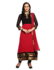Designersareez Deep Red And Black Chiffon Semi Stitched Anarkali Salwar Suit With Dupatta (20067)
