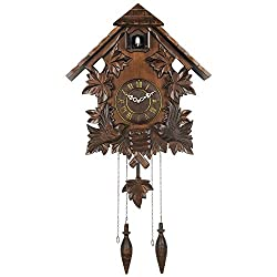 HENSE Retro Pastoral House Design Hand Crafted Leaves and Birds Brown Wooden Cuckoo Clock and Ultra Mute Silent Quartz Movement Roman Numerals Cuckoo Chime HP23