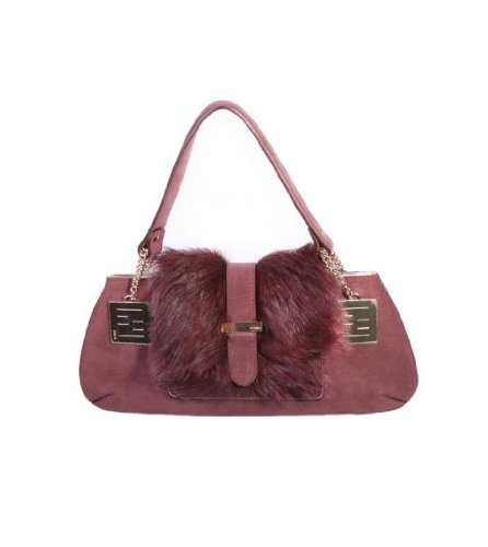 Fendi Burgundy Small Suede/Sheepskin Bag