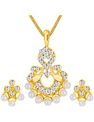 ShoStopper Artistically Gold Plated Australian Diamond Pendant Set