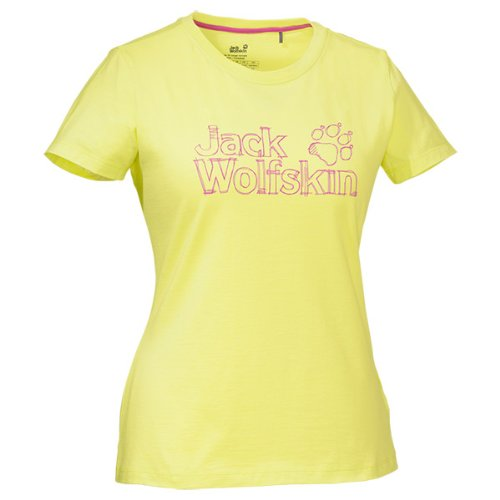 Jack Wolfskin Damen Shirt High Density Logo T Women, Fresh Lemon, XXL, 1802631-4001006