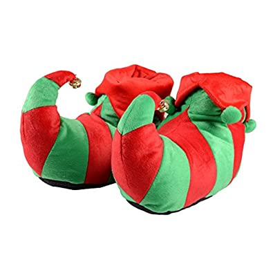 Unisex Adult Elf Red & Green Christmas Novelty Slippers With Non Slip ...