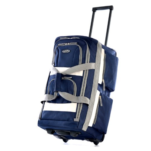 """Olympia Luggage 29"""" 8 Pocket Rolling Duffel Bag, Navy, One Size"""