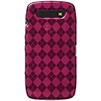 Amzer 92258 Luxe Argyle High Gloss TPU Soft Gel Skinase - Hot Pink For BlackBerry Torch 9850