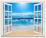 窓からの爽快な眺め 海辺 ウィンドウ ビュー ウォールステッカー 壁紙シール