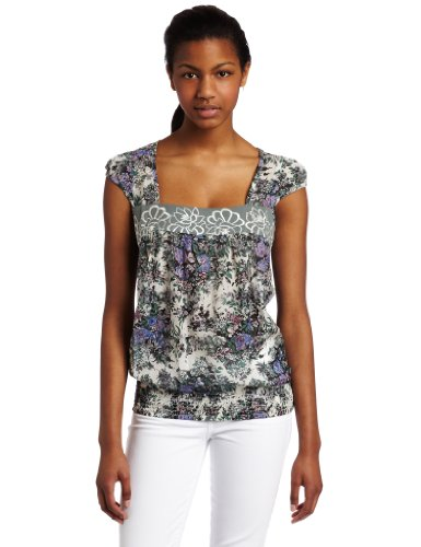 D.E.P.T. Womens Romantic Flower Top, Fresh Ercu, Medium