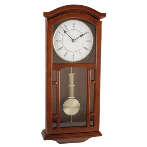 Large Deluxe Walnut Regulator Pendulum Wall Clock - Gold Dial