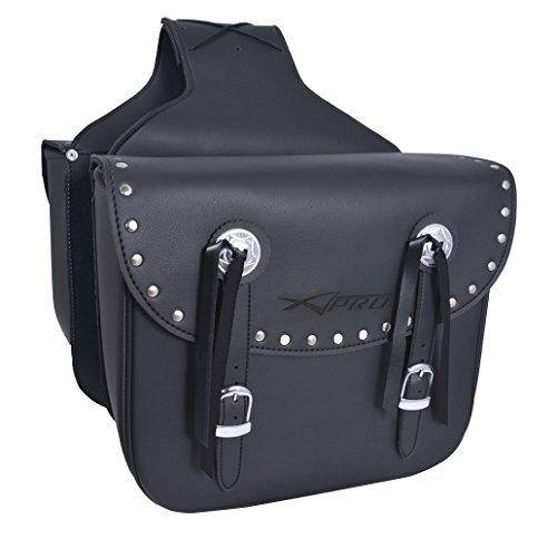 Borse Coppia Bisacce Rigide Borchie Cromate Custom Moto Nero Saddle bags