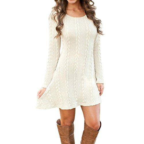 Signore delle donne manica lunga girocollo Maglione casuale sottile maglione lavorato a maglia Vestitino (M, Bianco)