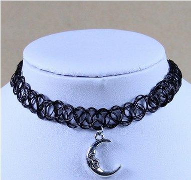 Gotico Resistenza Elastica cavo di Henna Tattoo collana collare collana (gufo) Nero, colore: moon Pendant black, cod. 120926N7W0H915
