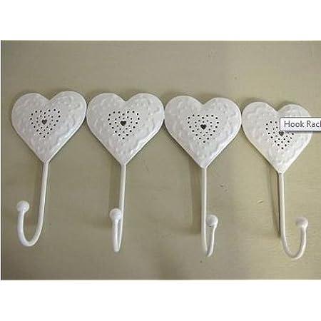 White Cut Out Heart Hooks (4 Hooks)