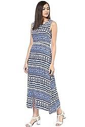 Akkriti by Pantaloons Women's A-Line Dress ( 205000005574644, Blue, Small)