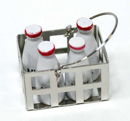 Set of 2 Miniature Metal Milk Crates with 4 Painted Wood Milk Bottles