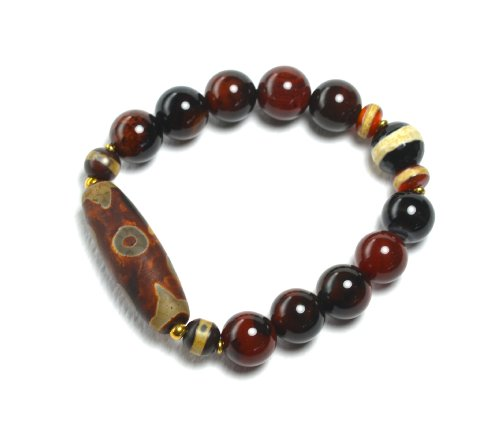 Luxury Antique Design Tibetan 5 Eyed, Tiger Tooth Dzi Bead Protective Amulet Bracelet, 12 Mm Dark Carnelian Beads – Fortune Feng Shui Buddha Jewelry