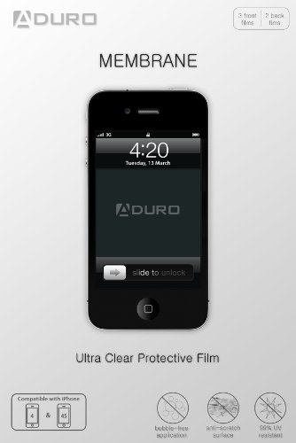 Aduro MEMBRANE Ultra Clear (Invisible) Screen Protector for iPhone 4 / 4S, AT&T, Sprint and Verizon (3 Front + 2 Back Films) Retail Packaging (Iphone 4 Front And Backs compare prices)