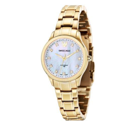 Swiss Eagle SE-6047-55 Ladies Akilina Gold Steel Bracelet Watch