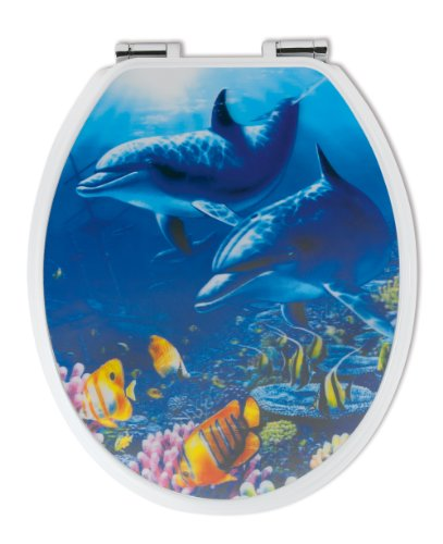 WC-Sitz Dekor 3-D Delfine | Toilettensitz | WC-Brille aus Holz | Soft-Close-Absenkautomatik | Metall-Scharnier | Fast-Fix-Schnellbefestigung