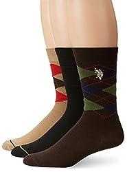 U.S. Polo Assn. Men's 3 Pack Classic Argyle Crew Sock, Assorted, 10-13/8-12