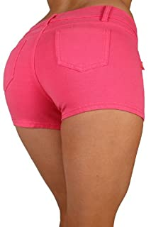 Basic Short Shorts Premium Stretch French Terry Moleton With a gentle butt lifting stitching in Fuschia Size L