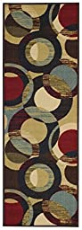 Anti-Bacterial Rubber Back RUGS RUNNERS Non-Skid/Slip 2x5 Runner Rug | Contemporary Circles Indoor/Outdoor Thin Low Profile Modern Home Floor Bathroom Kitchen Hallways Colorful Decorative Rug