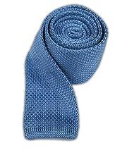 100% Silk Knit Sky Blue Skinny Tie