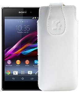 Original Suncase Tasche für / Sony Xperia Z1 Compact / Leder Etui Handytasche Ledertasche Schutzhülle Case Hülle / in weiss