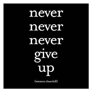 Never Never Never Give Up - Winston Churchill Black and White Magnet