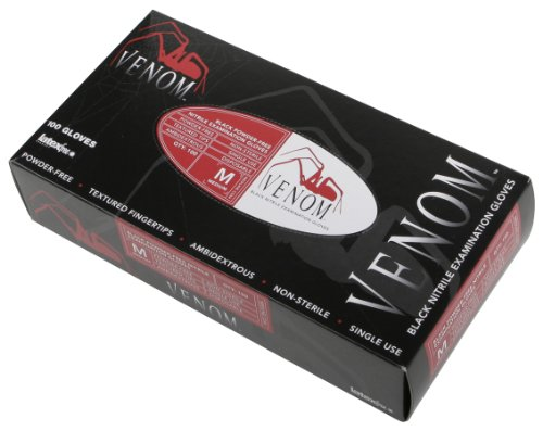 Venom Powder-Free Black Nitrile Exam Gloves, L (10 Boxes) front-588689