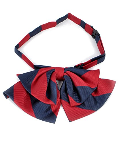 Lady'S College Stripe Banded Bow Ties (Navy/Red)