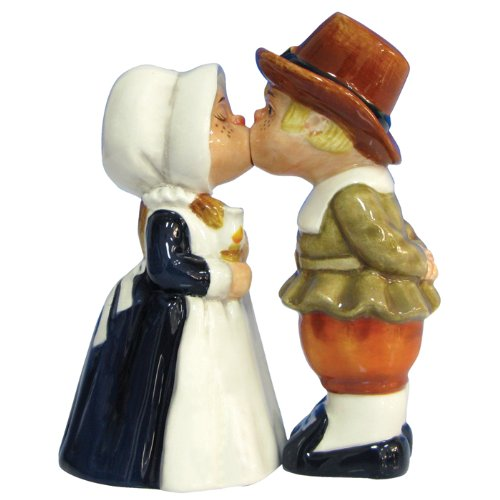 Westland Giftware Mwah Magnetic Pilgrims Salt and Pepper Shaker Set 4-1/4-Inch