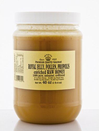 RAW HONEY ENRICHED WITH ROYAL JELLY BEE POLLEN PROPOLIS 40-OZ