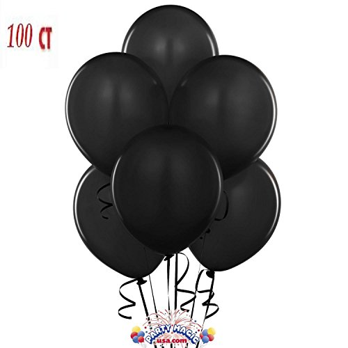 King's Deal 12 Inches Ultra Thickness Latex Balloon 100 Count - (Black)