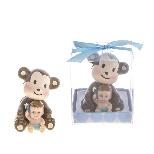 "Lunaura Baby Keepsake - Set of 12 ""Boy"" Baby Holding Rattle Sitting Next to Monkey Favors - Blue - 1"
