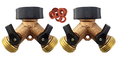 A1001T Heavy Duty Brass Y 2 Way Garden Hose Connector - 2 PACK - 2 Brass 2-Way Splitter 20 Hose Washers (Brass w/Overmold) (3 4 Valve Timer compare prices)
