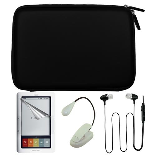 Premium Black EVA Hard Cover Case + Clear Screen Protector + Earphone headset w/mic + Ebook Light for Barnes&Noble Nook eBook Reader