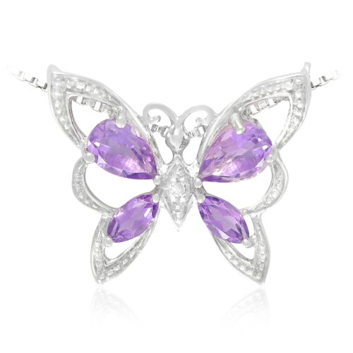 Sterling Silver Pear and Marquise Shaped Amethyst and Diamond Butterfly Pendant Necklace (0.01 cttw, I-J Color, I1-I2 Clarity), 18