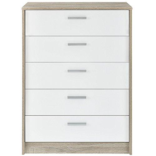 encasa-Sideboard-Kommode-100-x-70-x-39-cm-furniert-Eiche-Schubladen-wei-Hochglanz-Klavierlack-Kleiderregal