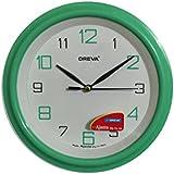 Ajanta (Oreva) Quartz Small Size (20.5 Cm X 20.5 Cm) Plastic Round Shape Wall Clock For Home And Office (Green)