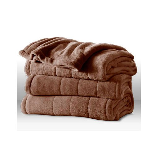 Sunbeam Channeled Microplush Heated Electric Blanket King Cocoa Brown