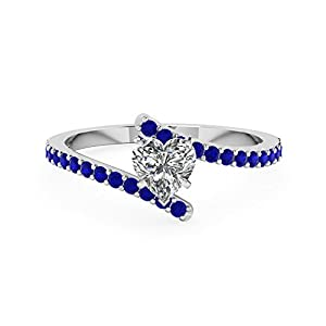 0.90 Ct Heart Shape Diamond And Blue Sapphire Gemstone Engagement Ring 14K Gold GIA (H Color,VS2 Clarity)