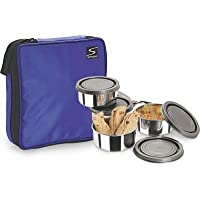 Stenso Scorpio-4 Soft Pouch Lunch Box And Stainless Steel Tiffin (pouch + 4 Containers + Lids + Spoon).