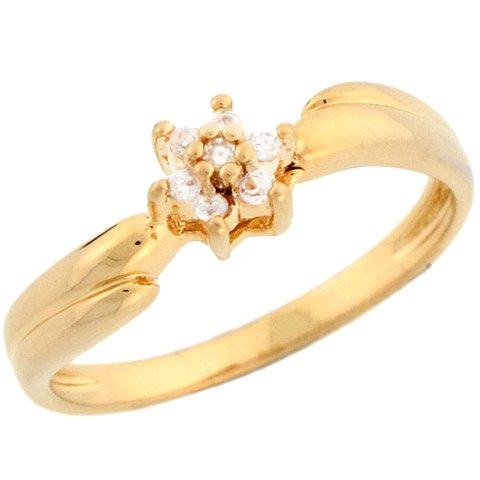 14k Yellow Gold Gorgeous Round Cut Diamond Flower Cluster Promise Ring